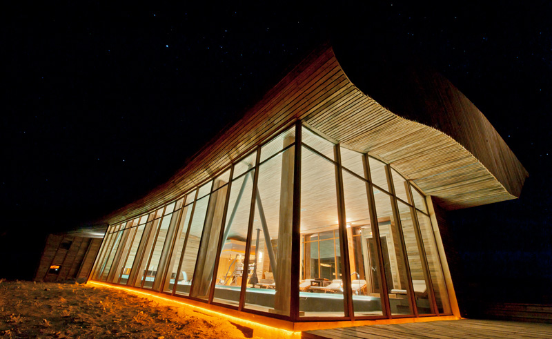 torres del paine tierra patagonia pool exterior night