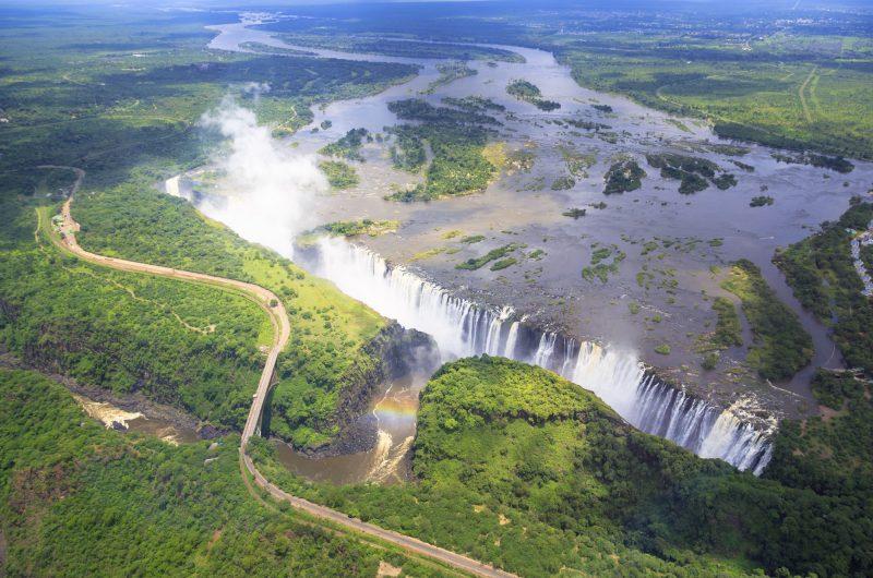 victoria falls and zambezi river aerial istock