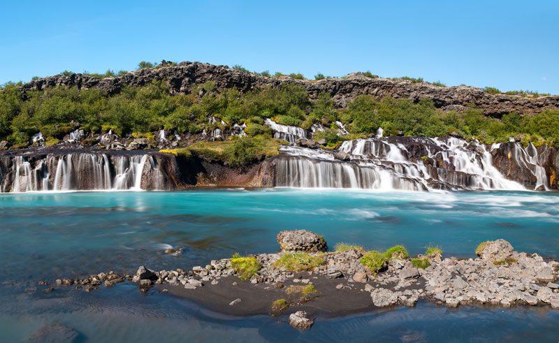 west iceland hraunfossar waterfall do