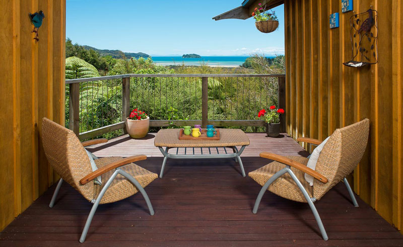 abel tasman ocean view chalets decking