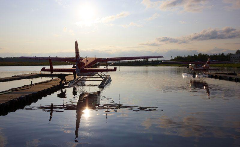 alaska south redoubt bay floatplane sunrise atia