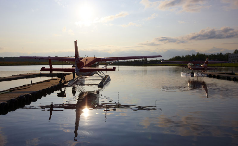 alaska south redoubt bay floatplane sunrise atia