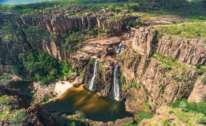 australia kakadu national park scenic flight over twin falls waterfall