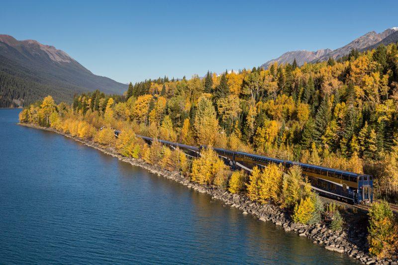 Rocky Mountaineer train through fall foliage