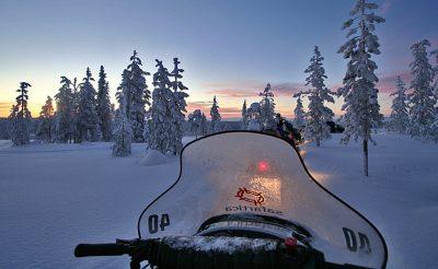 finnish lapland snowmobiling evening vf