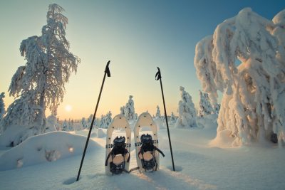 finnish lapland winter sun snowshoes vf