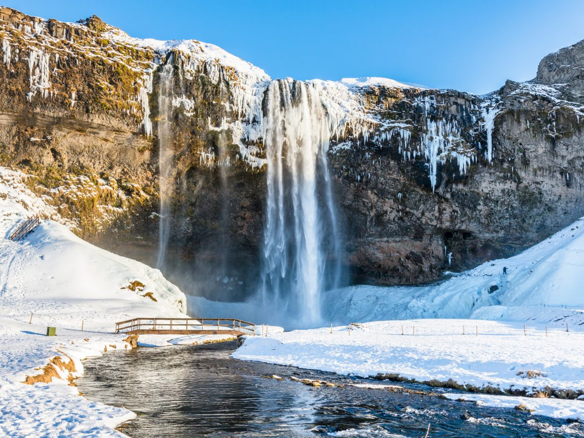 iceland south west seljalandsfoss winter sun istk