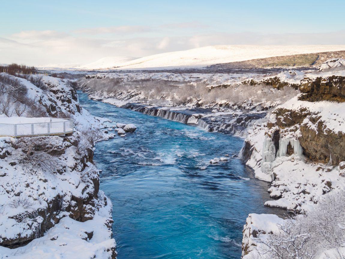 iceland west hraunfossar winter blue sky istk