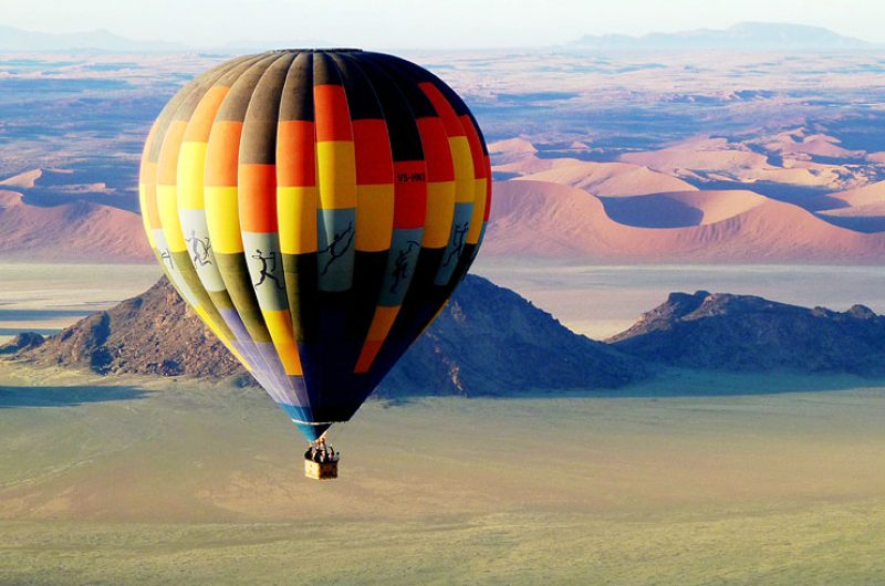 namibia sossusvlei hot air balloon view