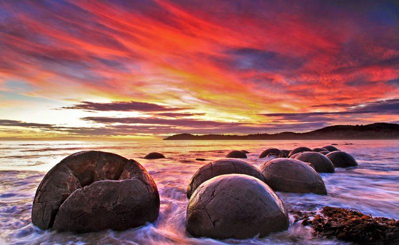 new zealand waitaki district moeraki boulders sunset mbc9