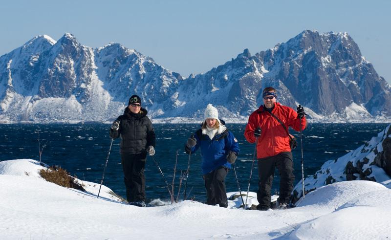 northern norway snowhoeing by fjord nn