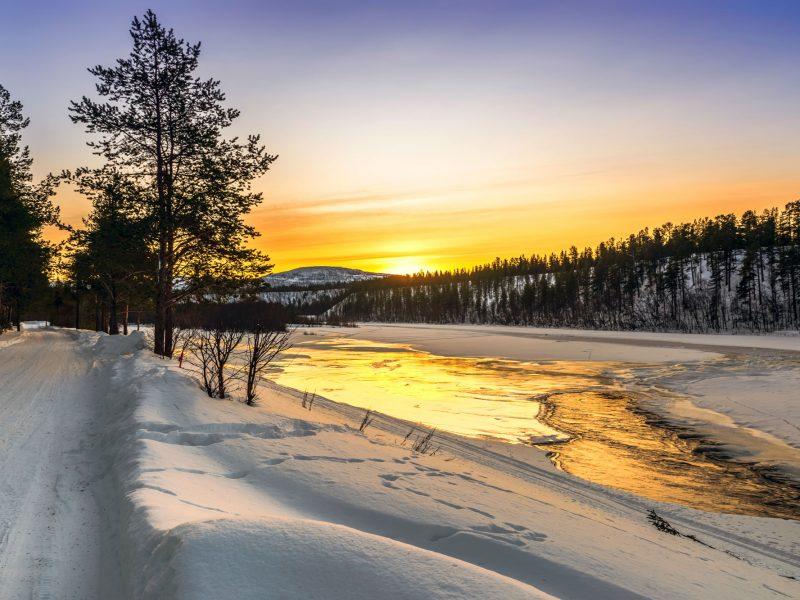 norway finnmark alta river winter sunset istk