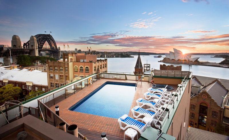 old holiday inn pool overlooking harbour bridge