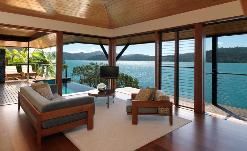 qualia hamilton island living room sea view