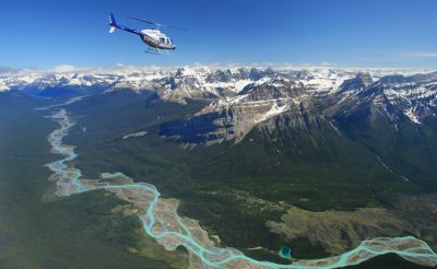 rocky mountains icefields helicopter