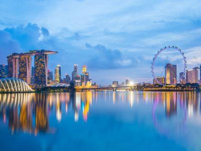 singapore skyline marina bay twilight istock