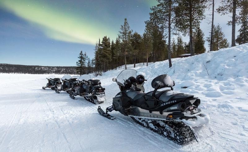 swedish lapland icehotel snowmobiles aurora ed