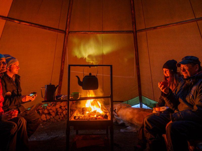 swedish lapland icehotel wilderness dinner inside lavvu rth