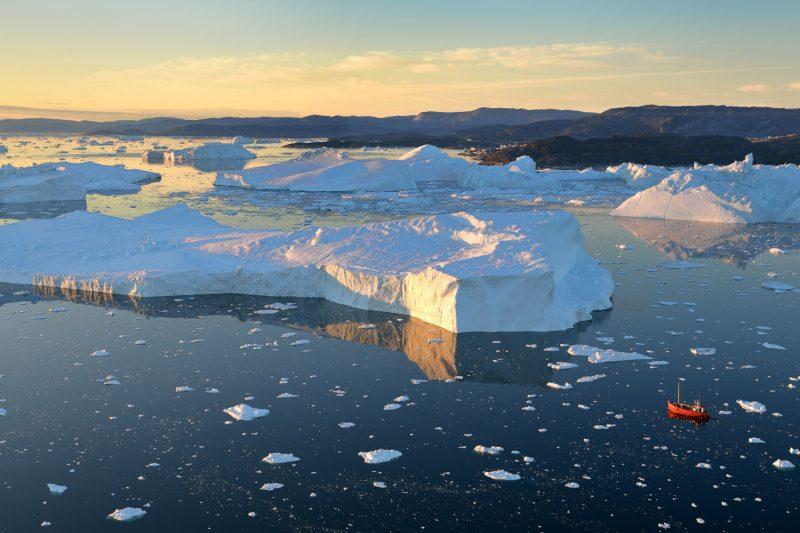 west greenland illulissat aerial sea ice boat greenlandtb