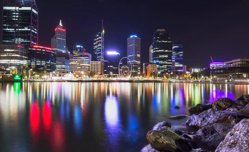 western australia perth skyline at night