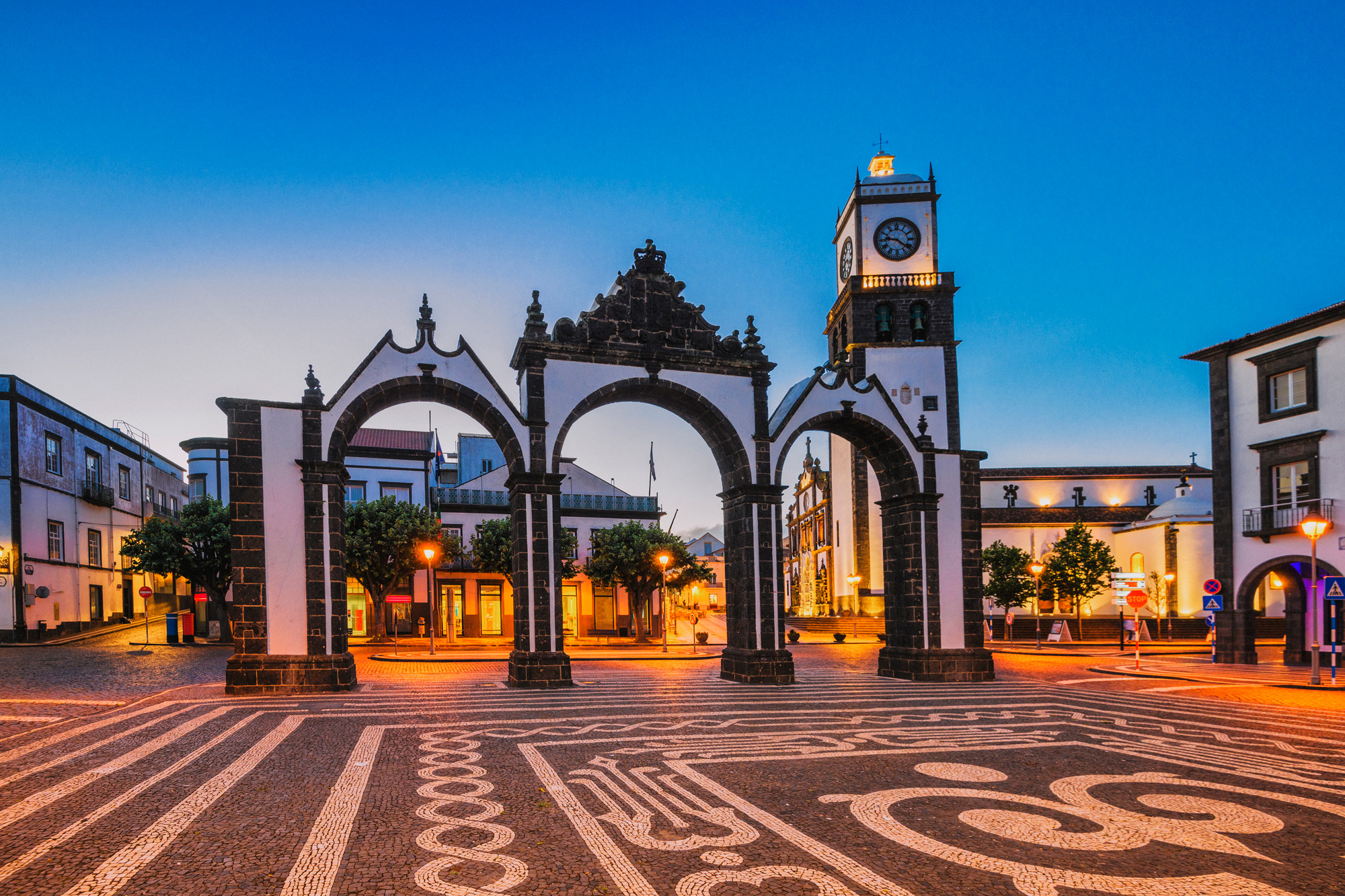 azores sao miguel island ponta delgada city gates istk