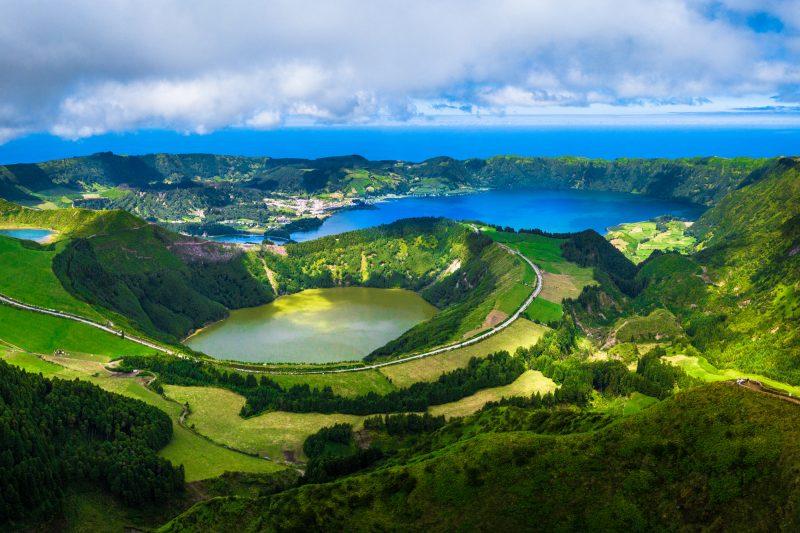 azores sao miguel island sete citades wide view istk