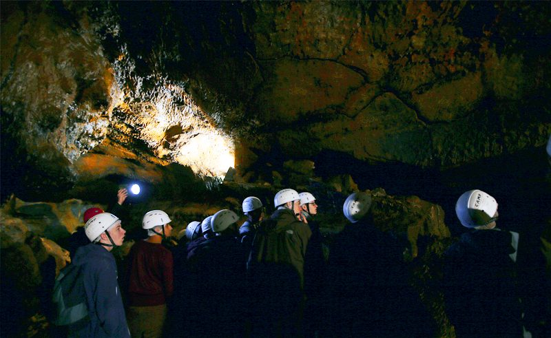 azores students visting caves
