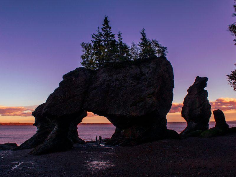 canada new brunswick hopewell rocks bay of fundy purple sunset istk
