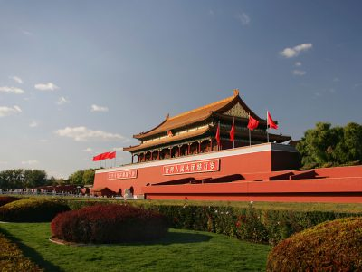 china beijing tiananmen gate side view istk