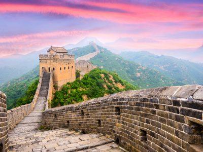 china great wall of china sunset