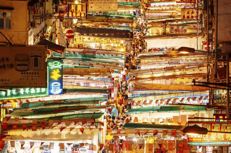 china hong kong temple night market