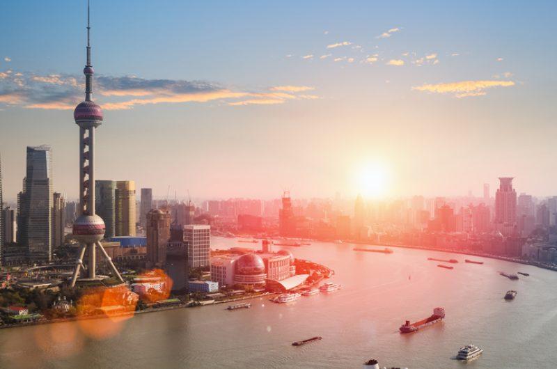 china shanghai skyline sunset