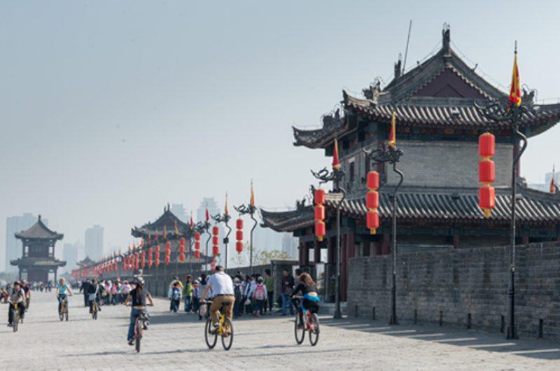 china xian bike ride on walls