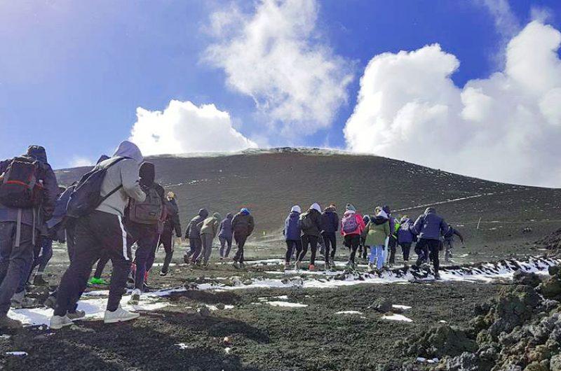climbing Etna