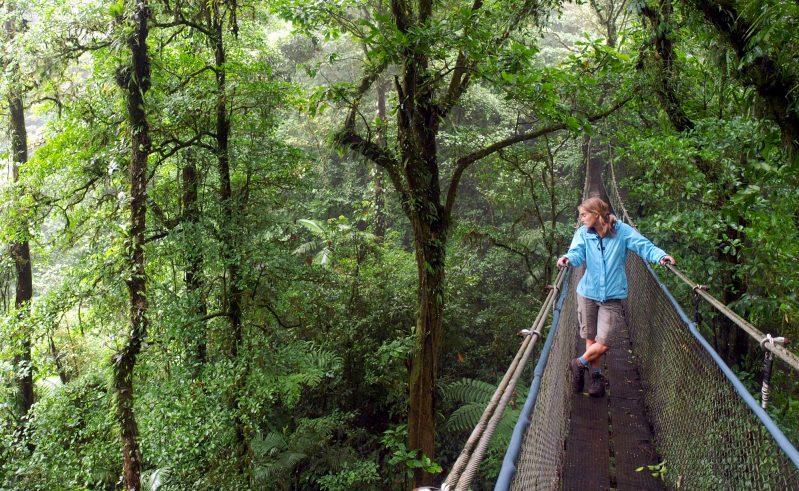 costa rica female on hanging bridge arenal national park istk