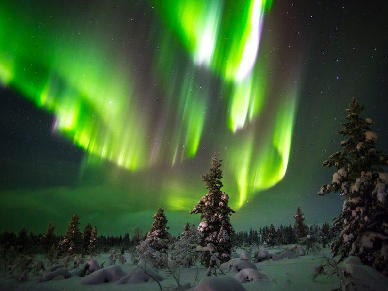 finland lapland aurora over saariselka region istk