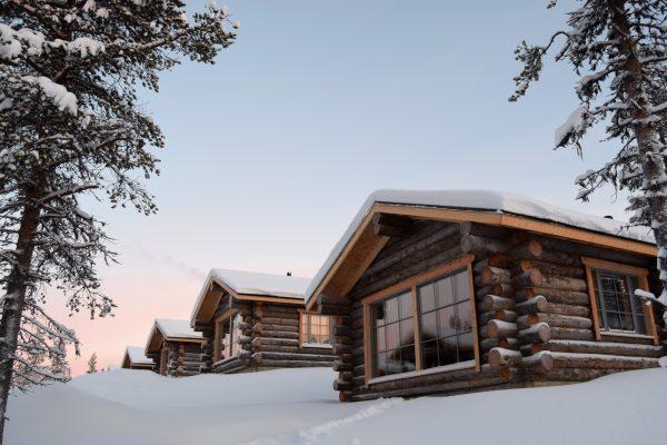 finland lapland muotka log cabins sunset mldge
