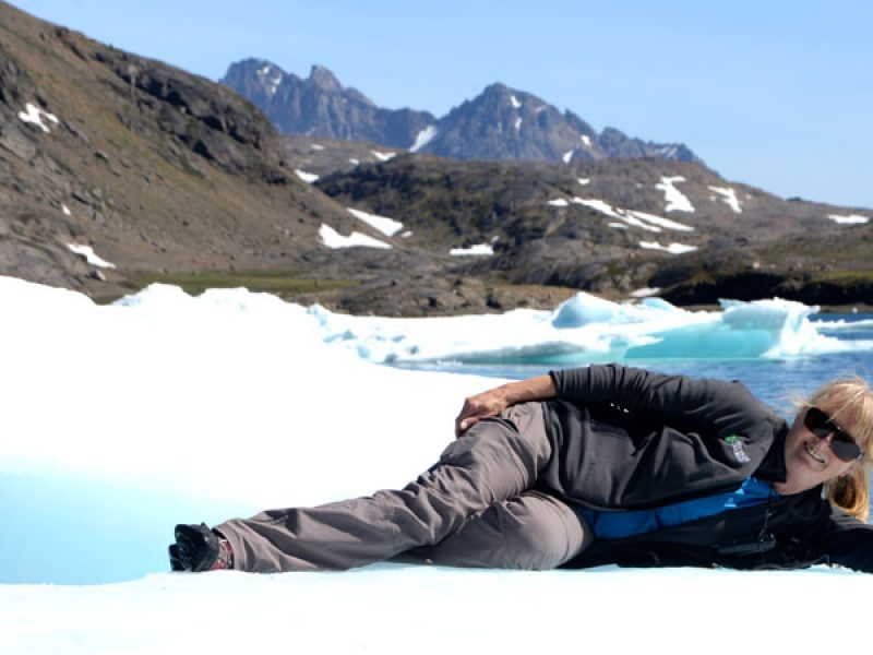 iceland cathy harlow on iceberg