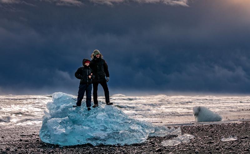 iceland jokulsarlon beach standing on ice