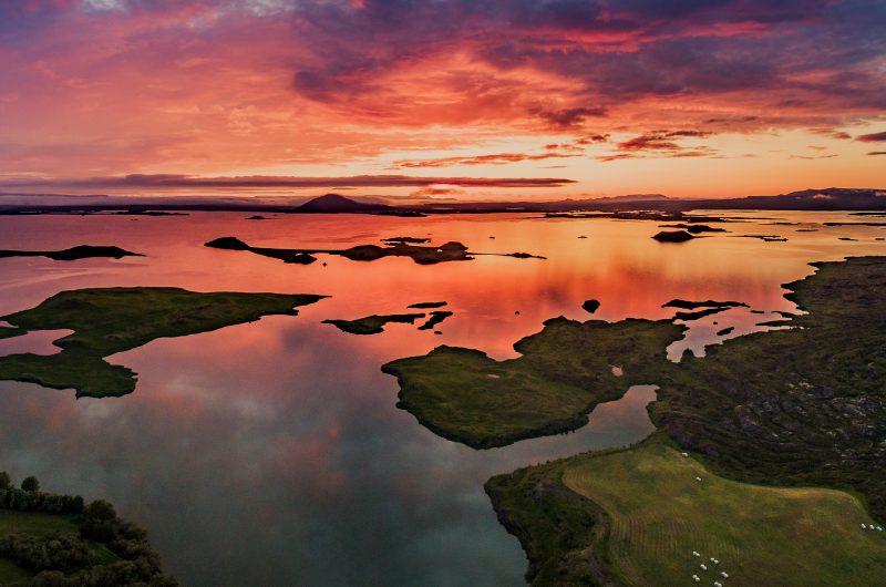 iceland north east sunset reflecting off lake myvatn rth