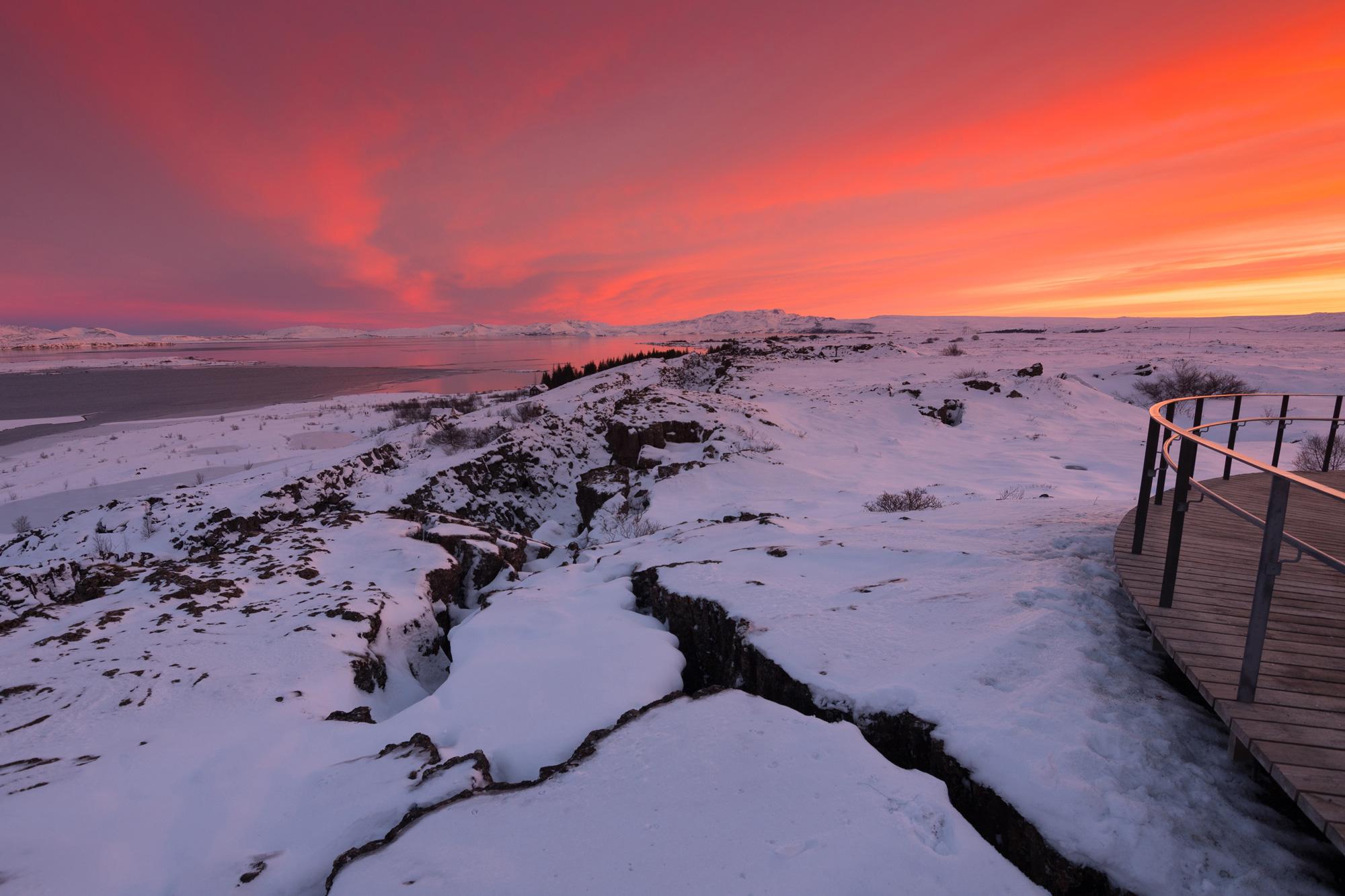 iceland south west thingvellir winter sunset istk