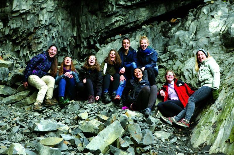 iceland students basalt columns