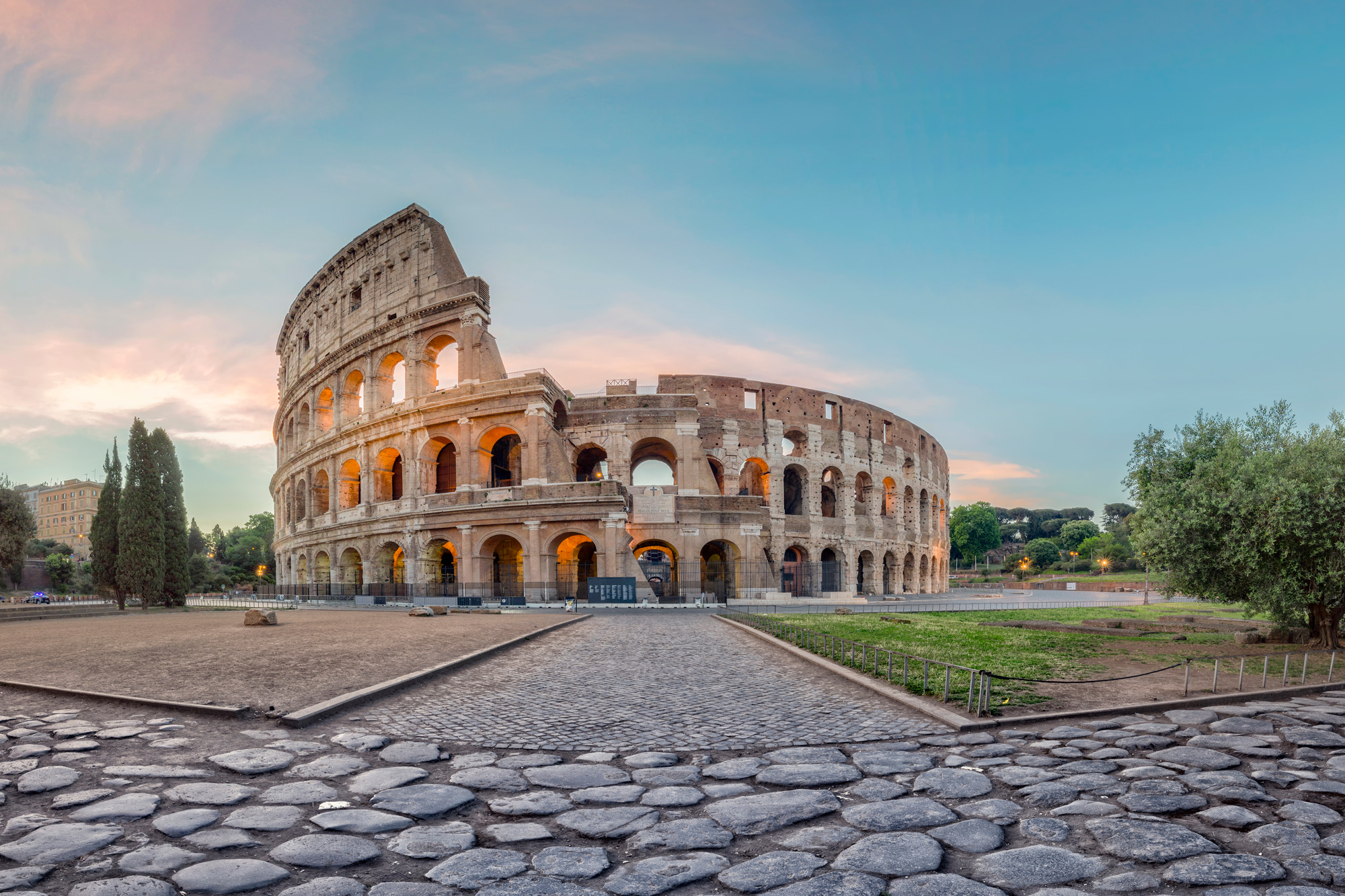 italy rome sunrise at the colosseum istk
