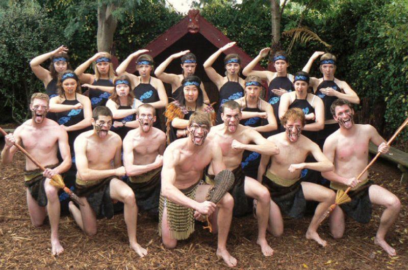 new zealand student group perform haka