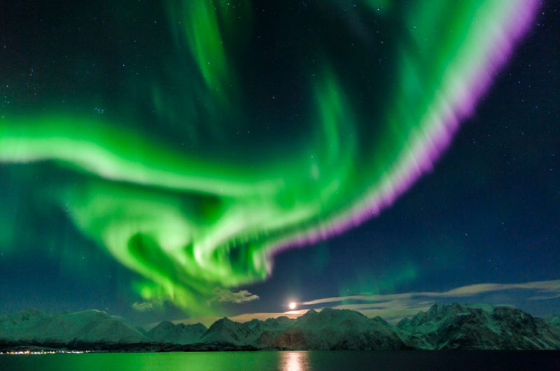 northern norway lyngenfjord northern lights over mountains vl
