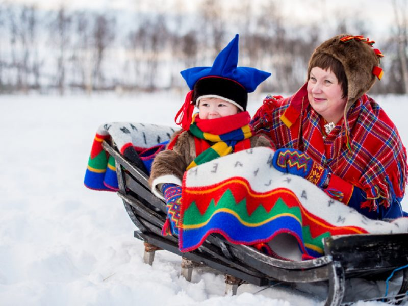 northern norway sami mother and child in traditional dress nn