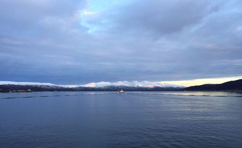 norway tromso boat on the horizon