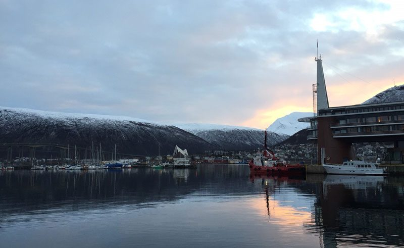 norway tromso harbour view at sunrise