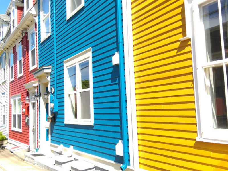 st johns colourful houses