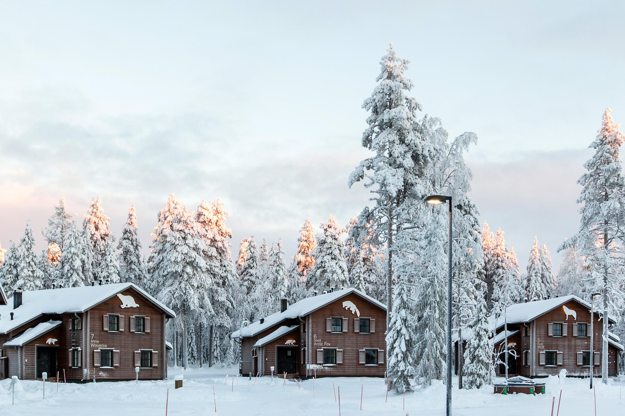 finnish lapland ranua exterior row of villas rwp